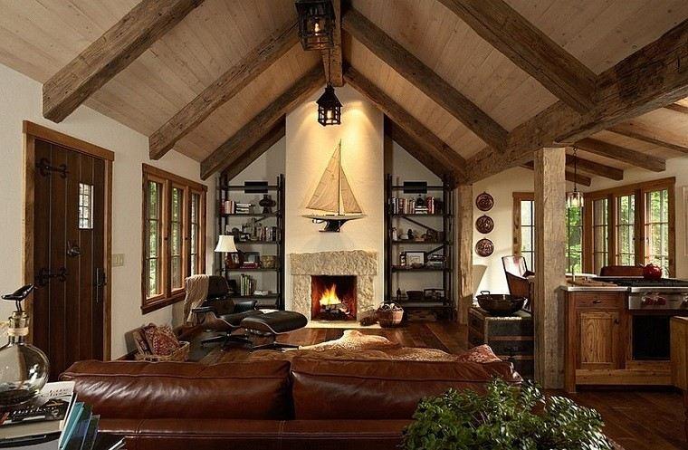 puerta madera sofa cuero barco decorativo chimenea ideas