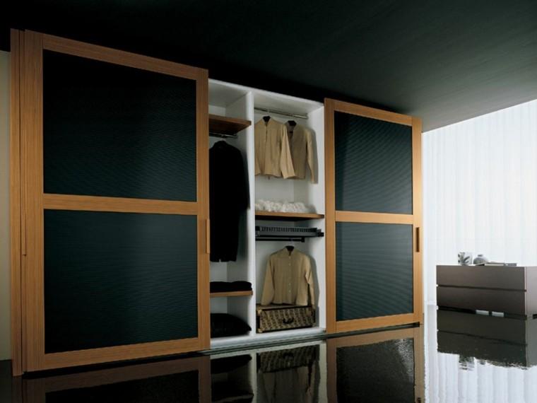 armario puertas negras marco madera