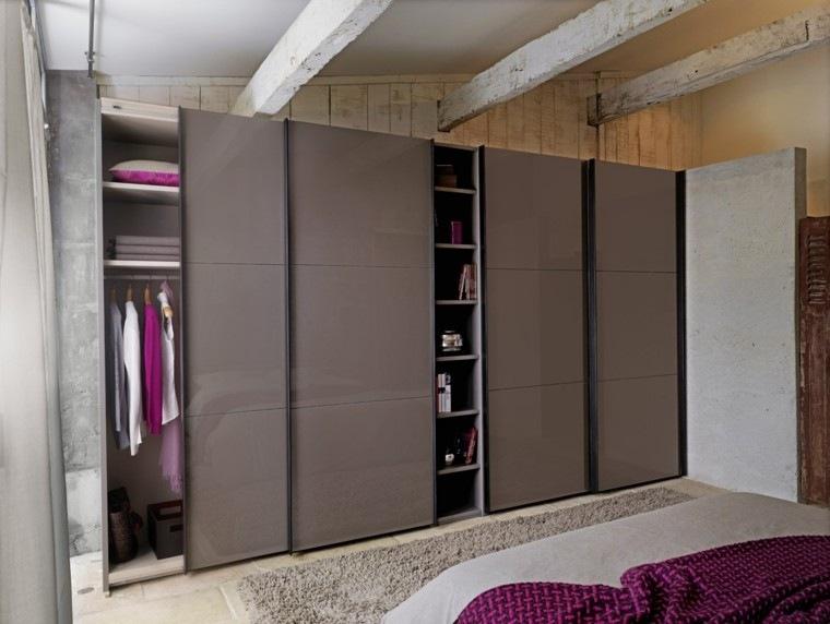 puertas vestidor armario marron lacadas