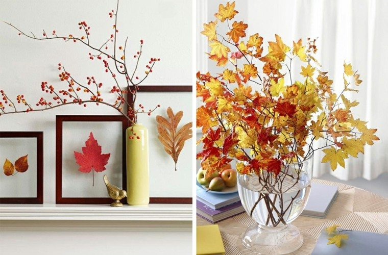 ramas hojas secas arbol decorativas jarron mesa ideas