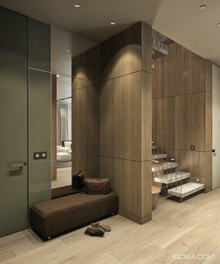 recibidor escaleras colgantes marmol blancow