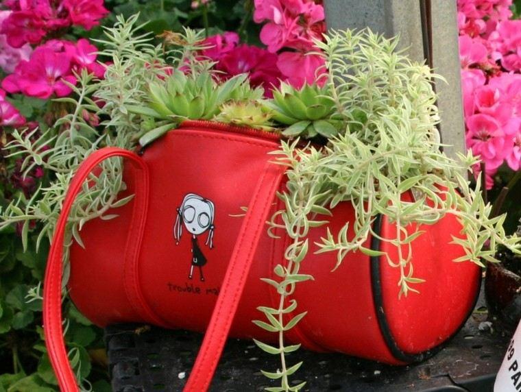 reciclaje creativo cartera roja rosa