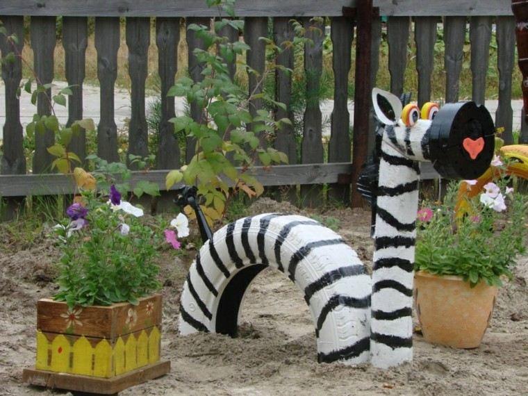 reciclaje creativo cebra madera rayas