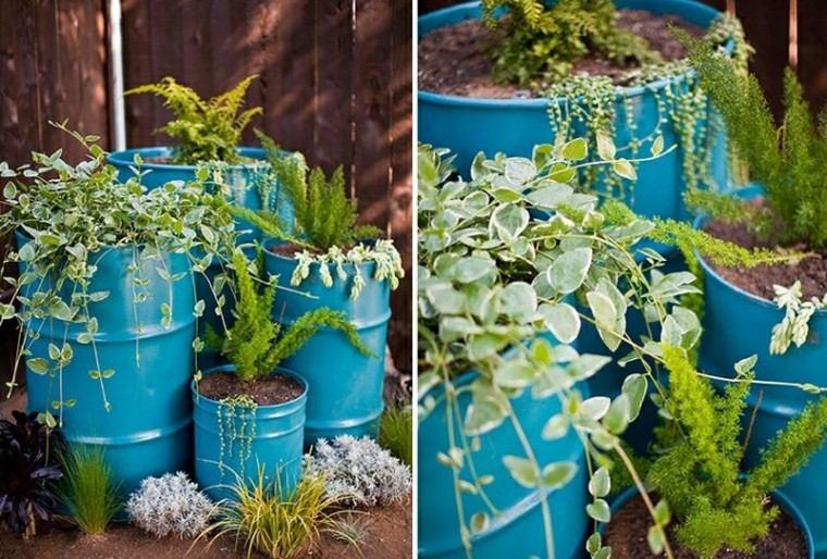 reciclaje creativo hierbas azul cercado