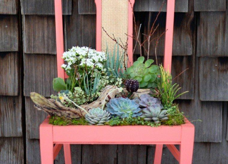 reciclaje creativo rosado madera silla