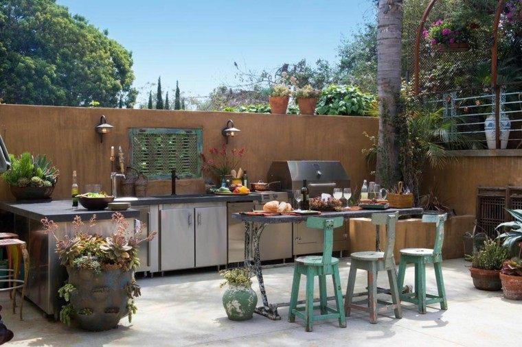 refugio perfecto verano cocina exterior macetas decorativas ideas
