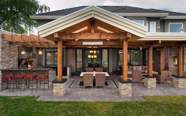 refugio perfecto verano cocina exterior mesa barra sillas altas ideas