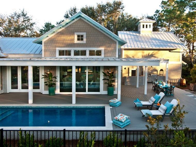 refugio perfecto verano cocina exterior mesa azul claro ideas