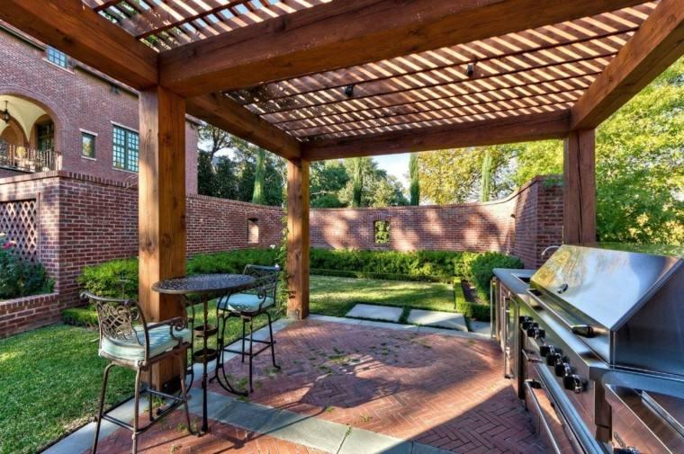 refugio perfecto verano cocina exterior mesa mesa sillas acero ideas