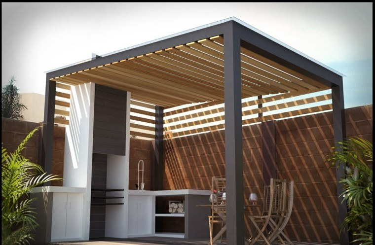 refugio perfecto verano cocina exterior mesa pergola negra ideas