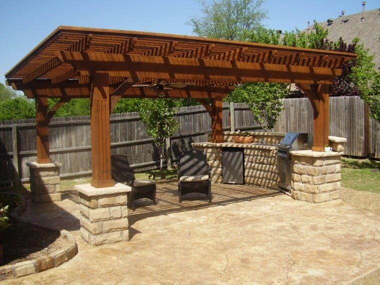 refugio perfecto verano cocina exterior pergola madera jardin ideas