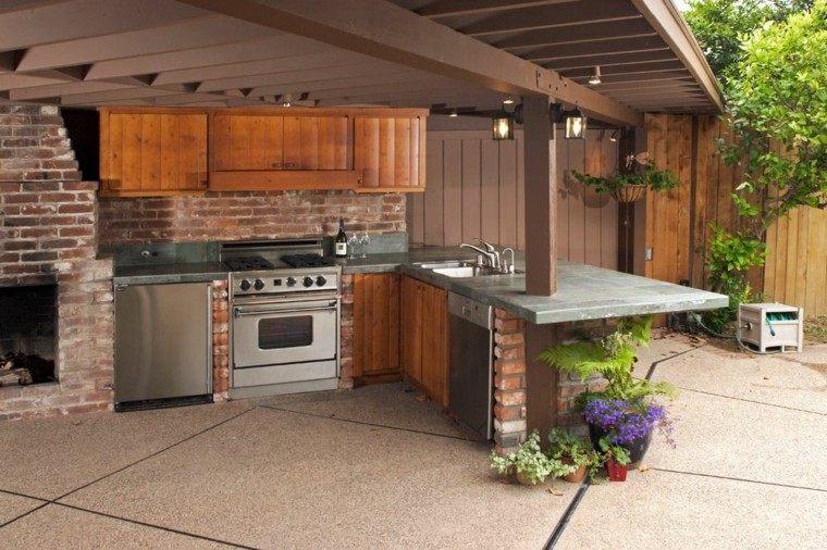 refugio perfecto verano cocina exterior rustica pared ladrillo ideas