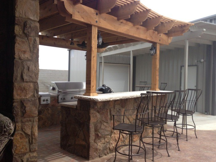 El refugio perfecto ideas de cocinas al aire libre - Barras de bar rusticas ...