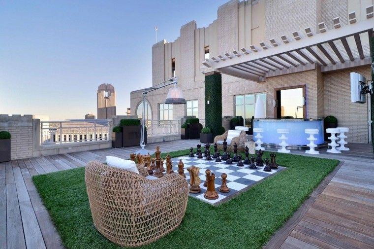 refugio perfecto verano cocina exterior tabla ajedrez grande ideas