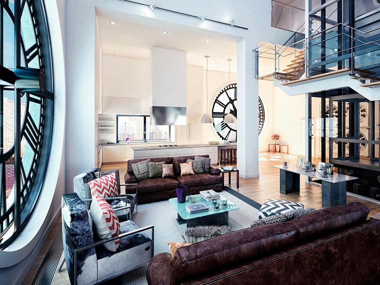 reloj amplio cojines casa colorido