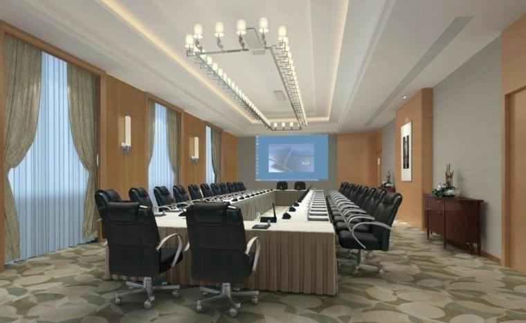 reuniones salon sillas cuero cortinas