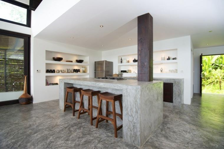 Cemento como tendencia de decoraci n para interiores - Suelos para cocinas rusticas ...