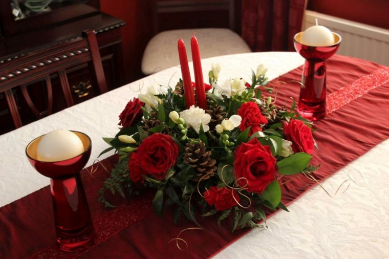 rojo navidad mesa centro velas