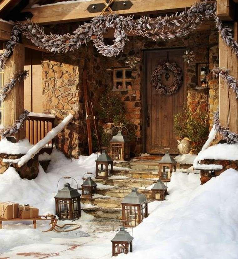 rustica casa decoracion puerta nieve