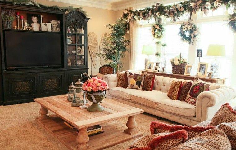 rustico salon mesa centro mueble