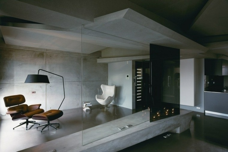 sala acristalada pared cemento paneles