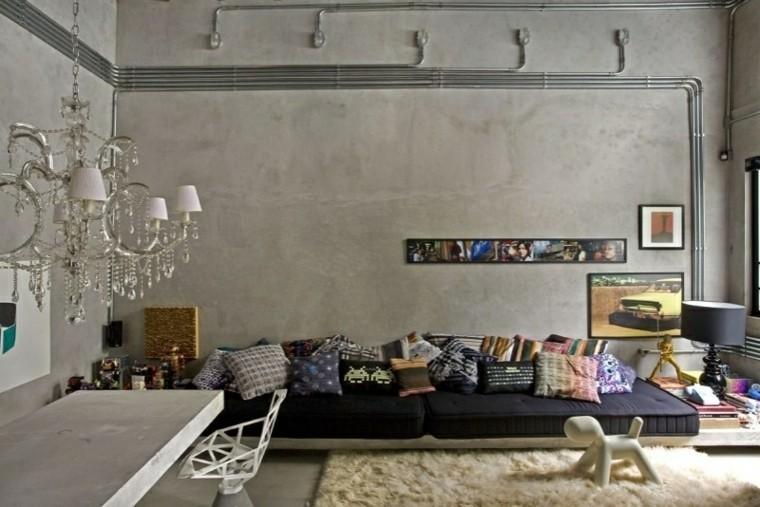 sala estar estilo industrial cemento