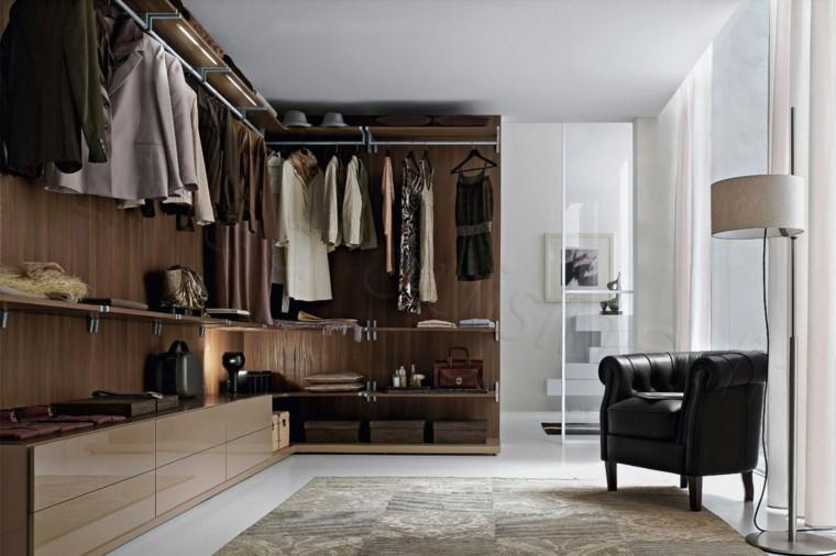 sala vestidor muebles marrones madera