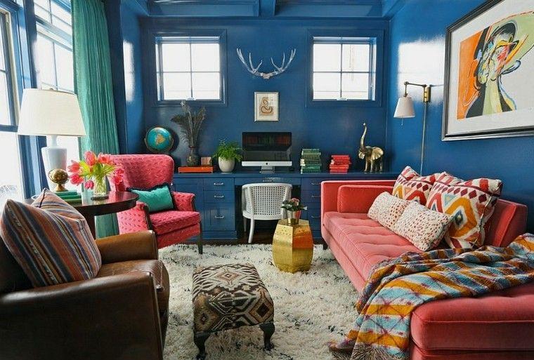 salon estilo boho escritorio azul