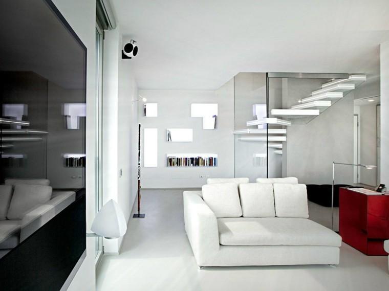 salon blanco estilo moderno escalera