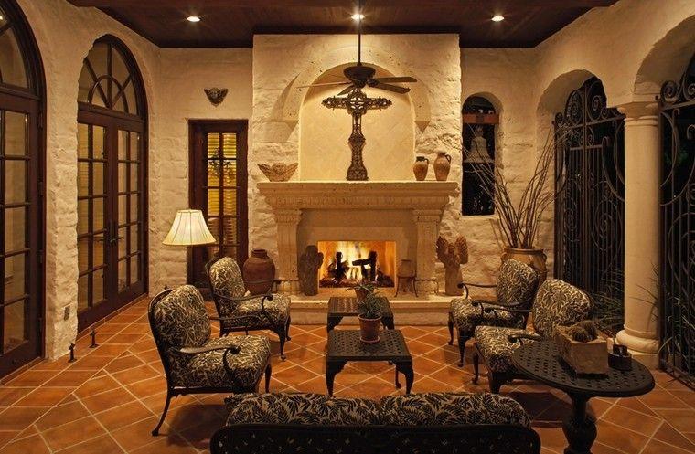 salon chimenea muebles estilo rustico ideas