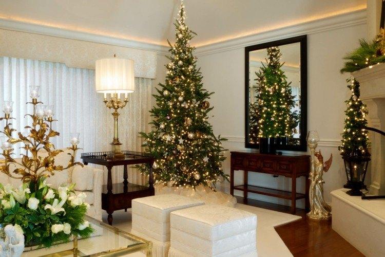 salon clasico arbol navidad grande lucues decorativas ideas