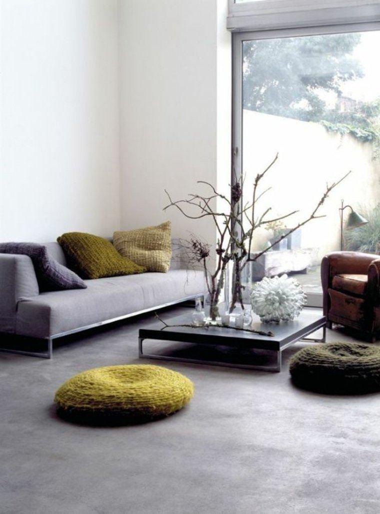 salón moderno redondos suelo hormigón