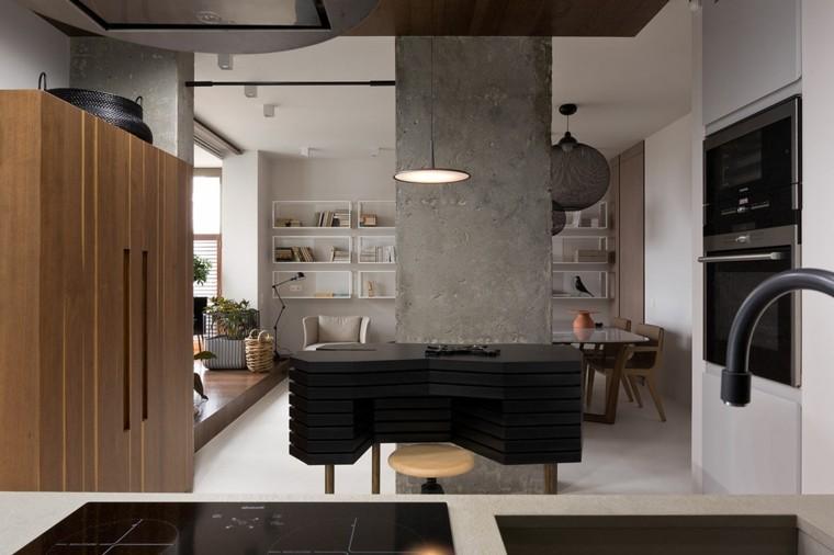 salon comedor columna cemento grande