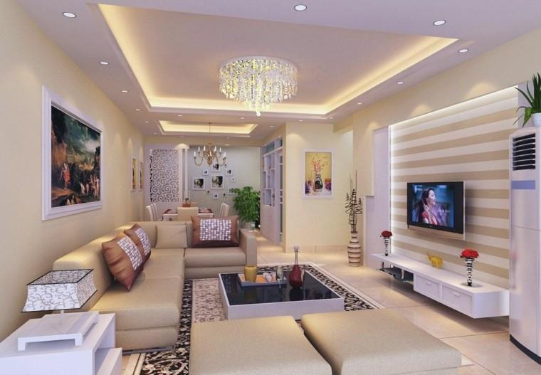 salon diseño color beige luces