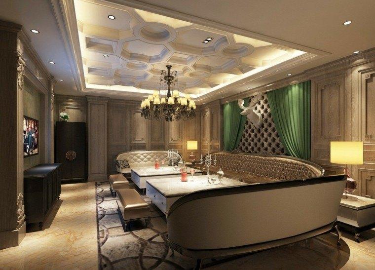 salon lujoso estilo cortina verde