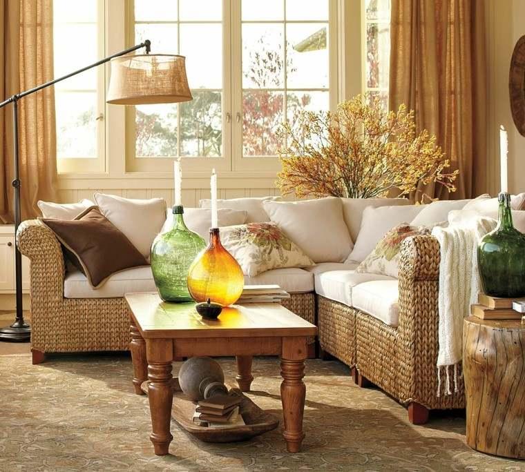 salon mesa madera hojas secas arbol decorativas ideas