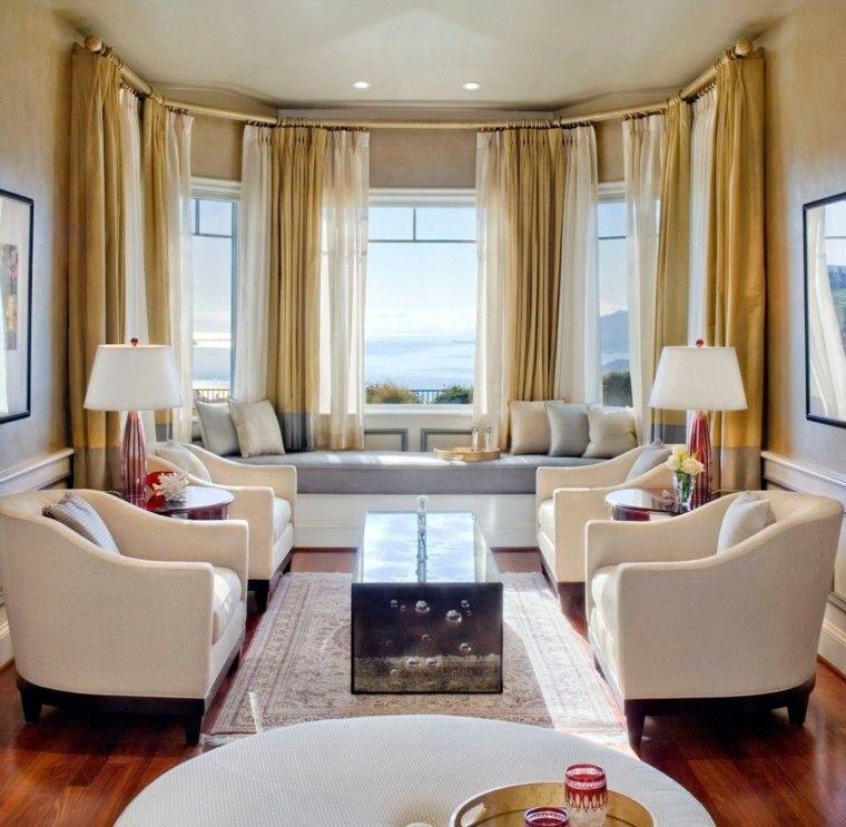 salon moderno asiento ventana cortinas