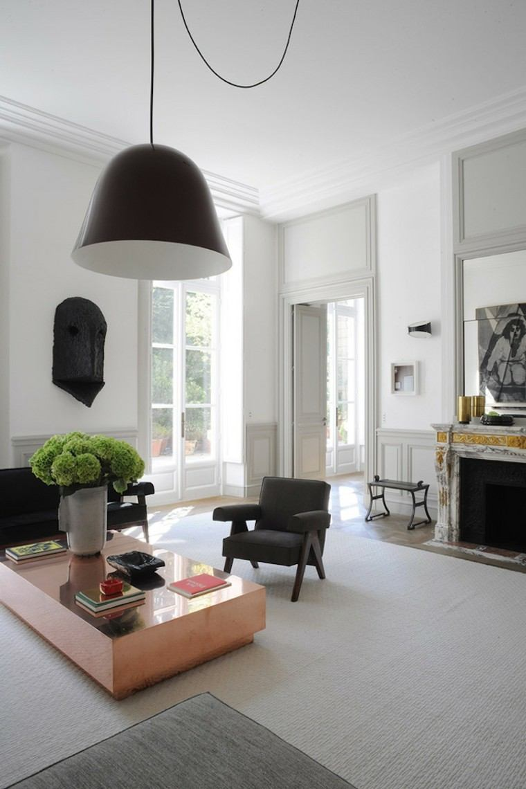 salon moderno blanco negra mesa cafe bronce preciosa ideas