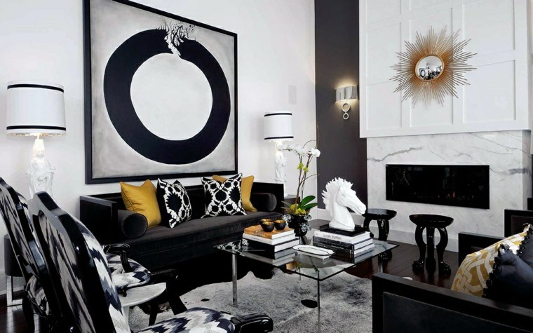 Blanco y negro 50 ideas para el sal n moderno y elegante for Black n white living room