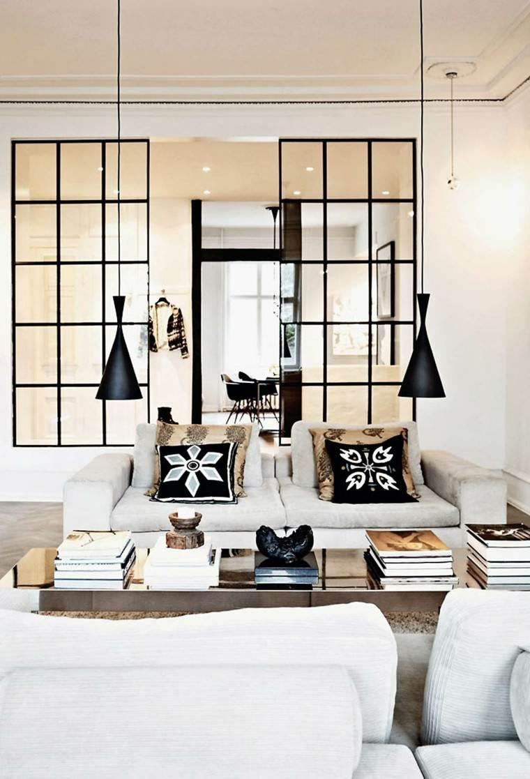 salon moderno blanco negro lamparas colgando techo muebles comodos ideas