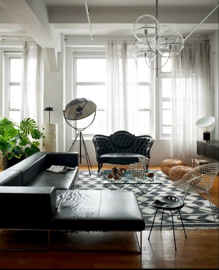 Creative Decor Ideas With Black Couch: Blanco Y Negro: 50 Ideas Para El Salón Moderno Y Elegante