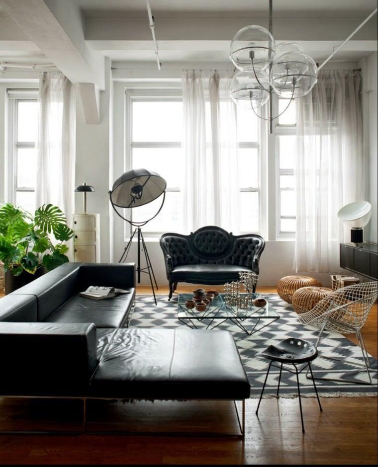 salon moderno blanco negro sofa cuero silla acero ideas