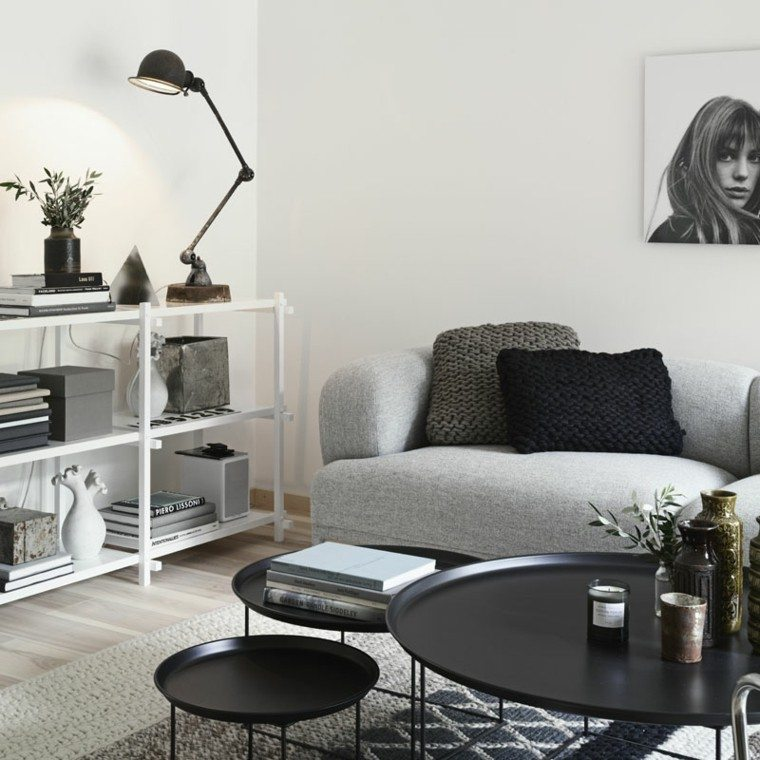salon moderno blanco negro sofa gris preciosa ideas