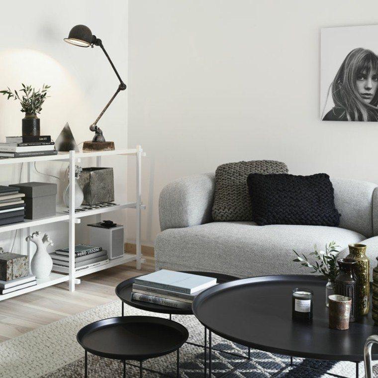 Blanco Y Negro 50 Ideas Para El Salon Moderno Y Elegante - Salones-con-sofa-negro