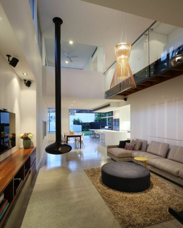 salon moderno chimenea colgante