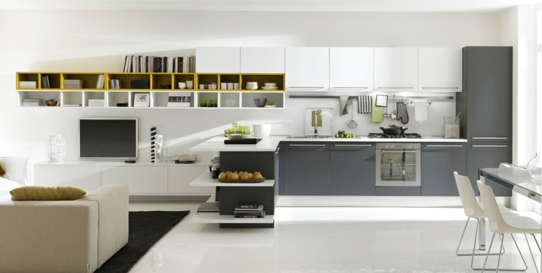 salon moderno cocina diseño gris