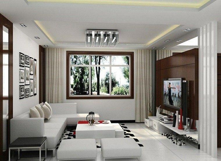 salon moderno sofa taburetes blancos alfombra negro ideas
