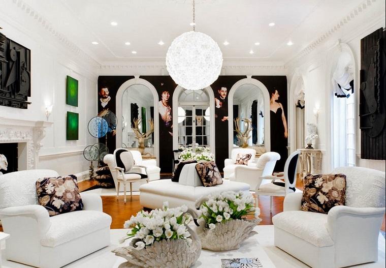 salon moderno flores frescas jarrones cojines estampas flores ideas