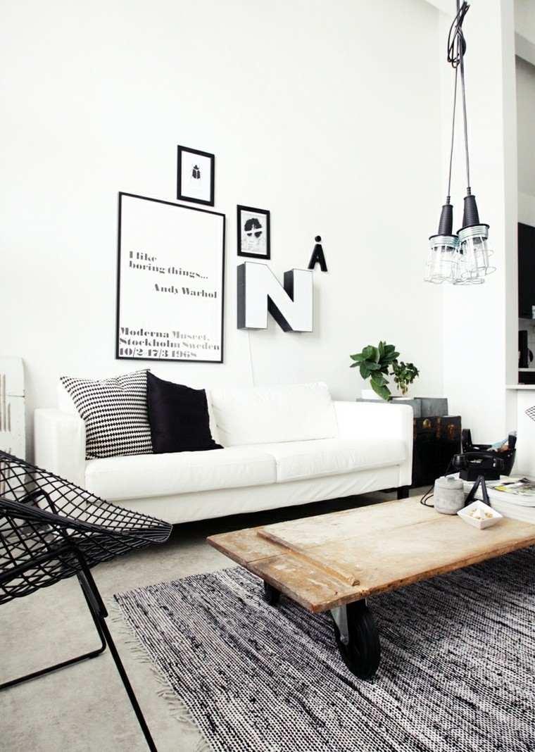 salon moderno letras decorando pared mesa ruedas ideas