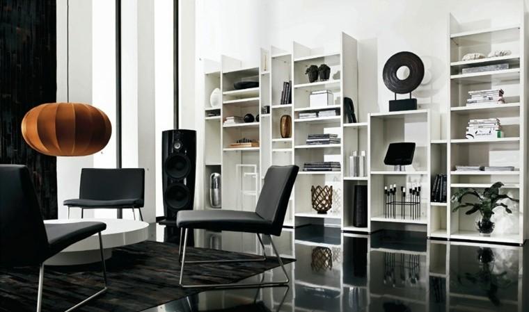 salon moderno sillones negros mesa blanca redonda ideas